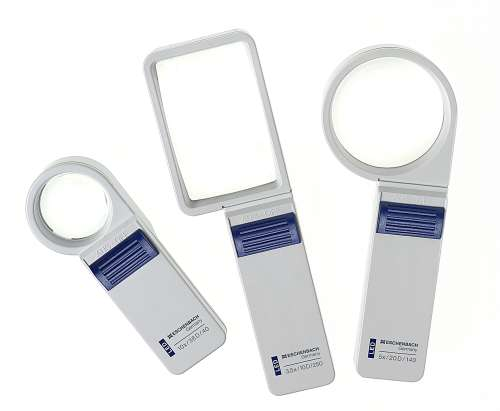 Three illuminating optical magnifiers in different sizes.