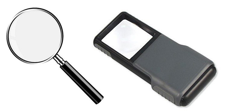 Two optical magnifiers in different shapes.