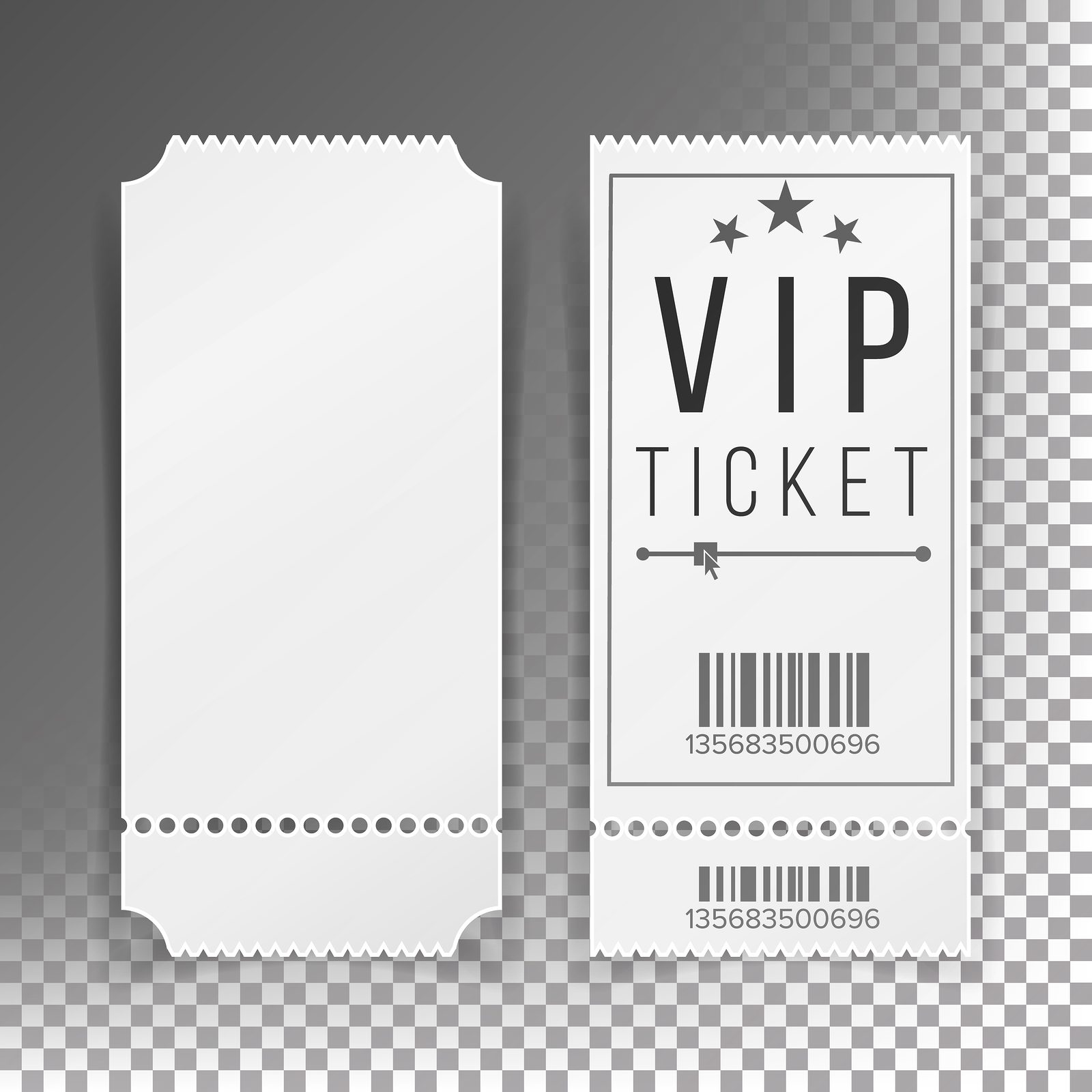 A special VIP ticket on a gray background.