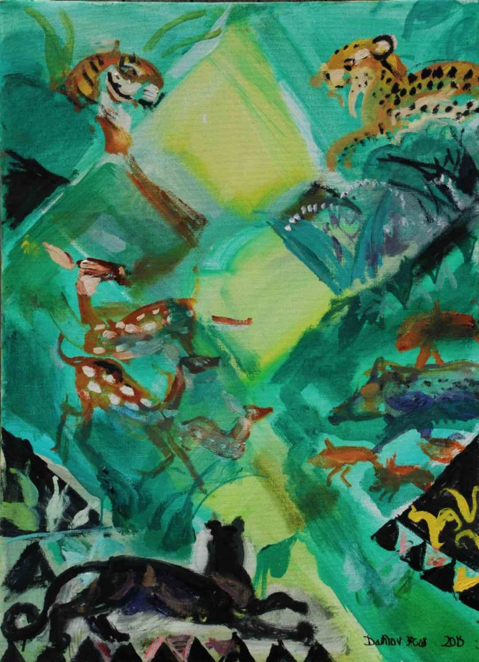"Dahlov Ipcar ""Sunlight in Forest Glade"" (unfinished, 2015)"