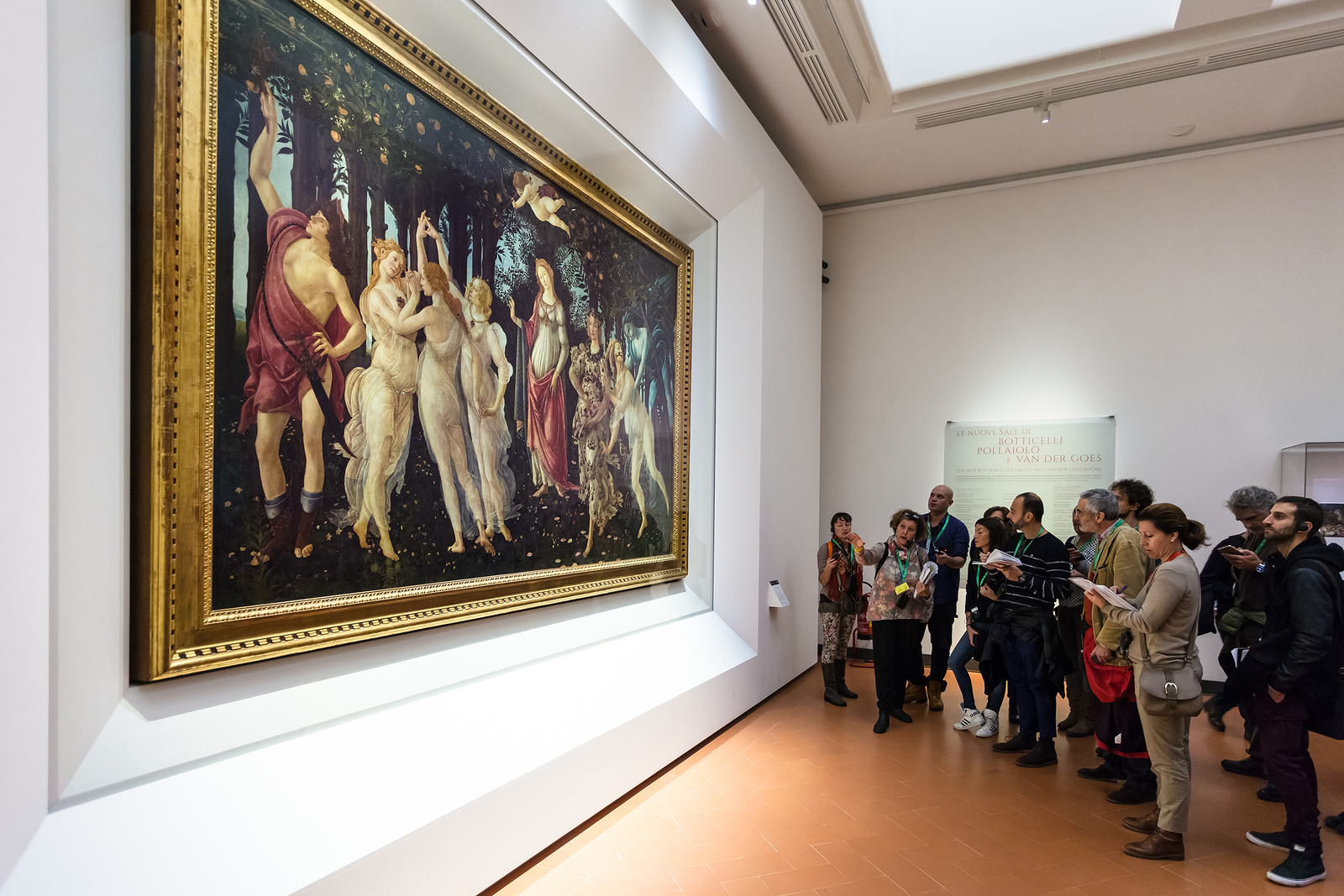 Visitors In Botticelli Hall Of Uffizi Gallery