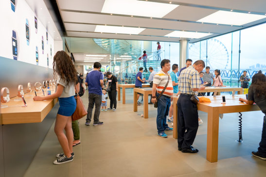 People browsing in an Apple Store