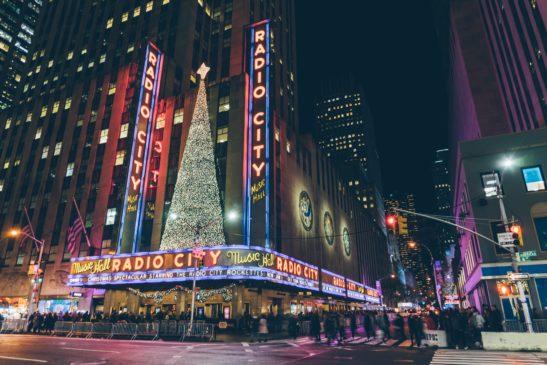 Lights on NYC Radio City music hall.