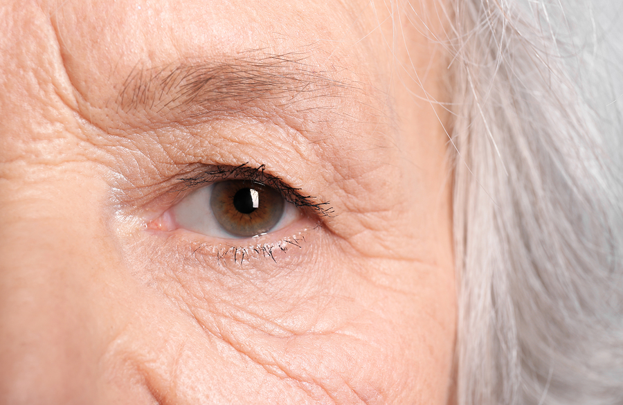 Closeup of elderly woman's eye