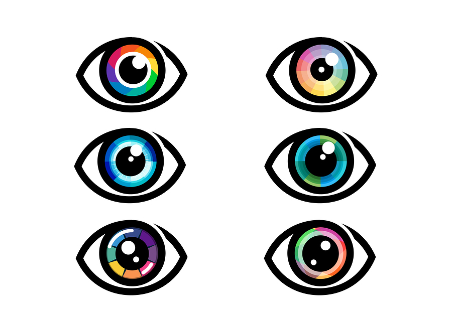 Eye Icon – Eye Symbol. Flat Eye Sign Vector. Colorful Eye Icons