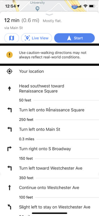GPS preview of google maps to P.F. Chang's