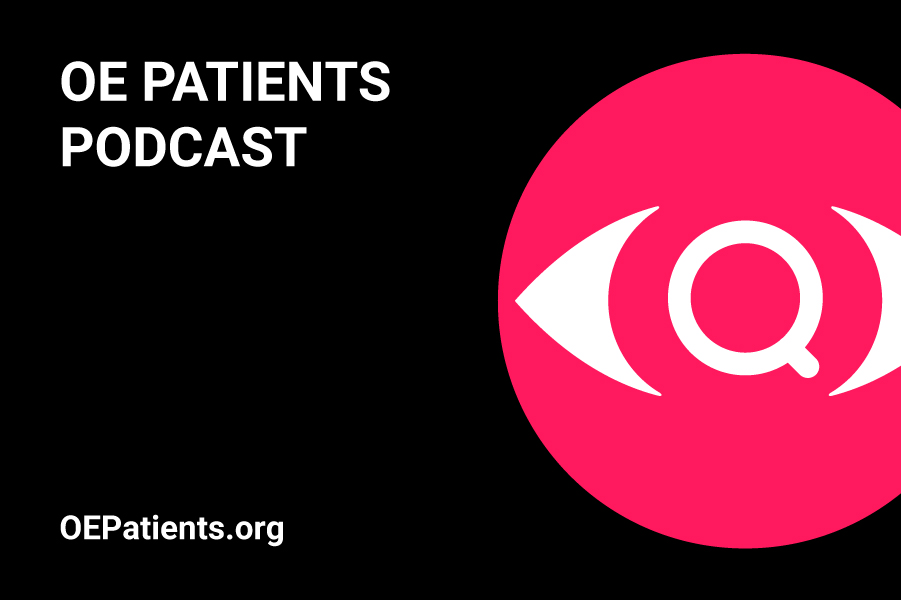 OE Patients Podcast in white text with magenta and white OE Patients logo.