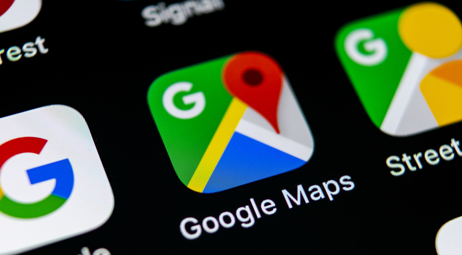 Google Maps application on smartphone home screen