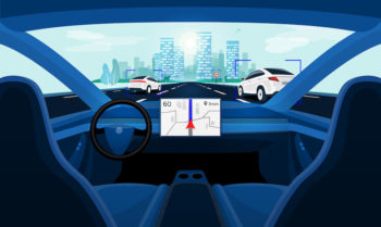 Vector illustration of car interior with big navigation display.
