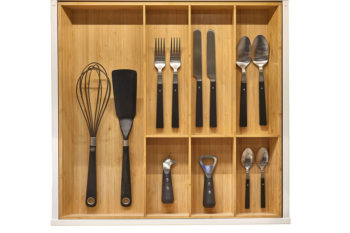 Image of cooking tools and utensils neatly organized in a kitchen draw.