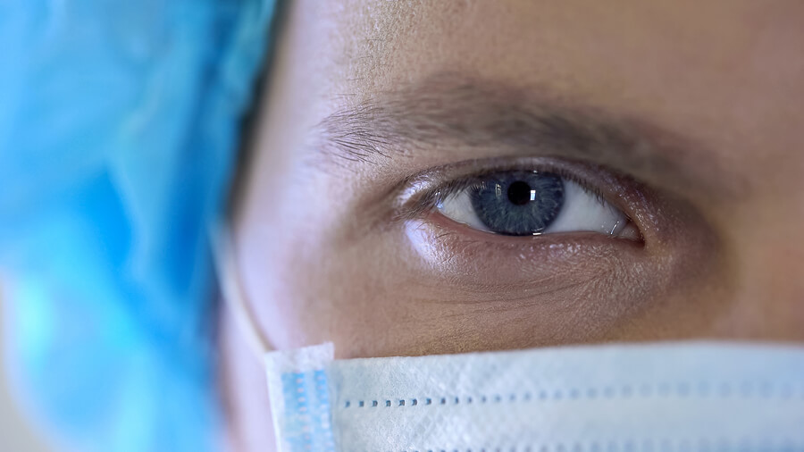 Closeup Image of Doctor's Eyes in a Surgical Mask