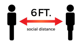 Image of sign for 6 foot social distance.