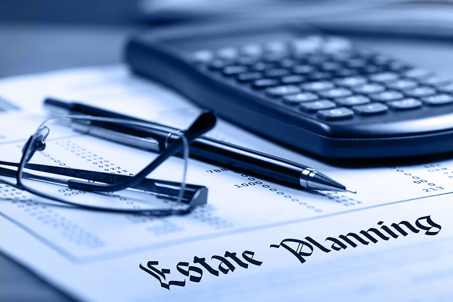 Image shows financial documents for estate planning.