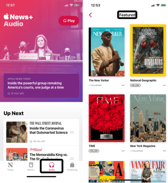 Image shows screenshots of Apple News+ Audio and magazines pages.