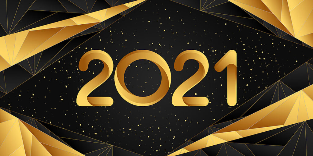 Image shows: 2021 Happy New Year banner.
