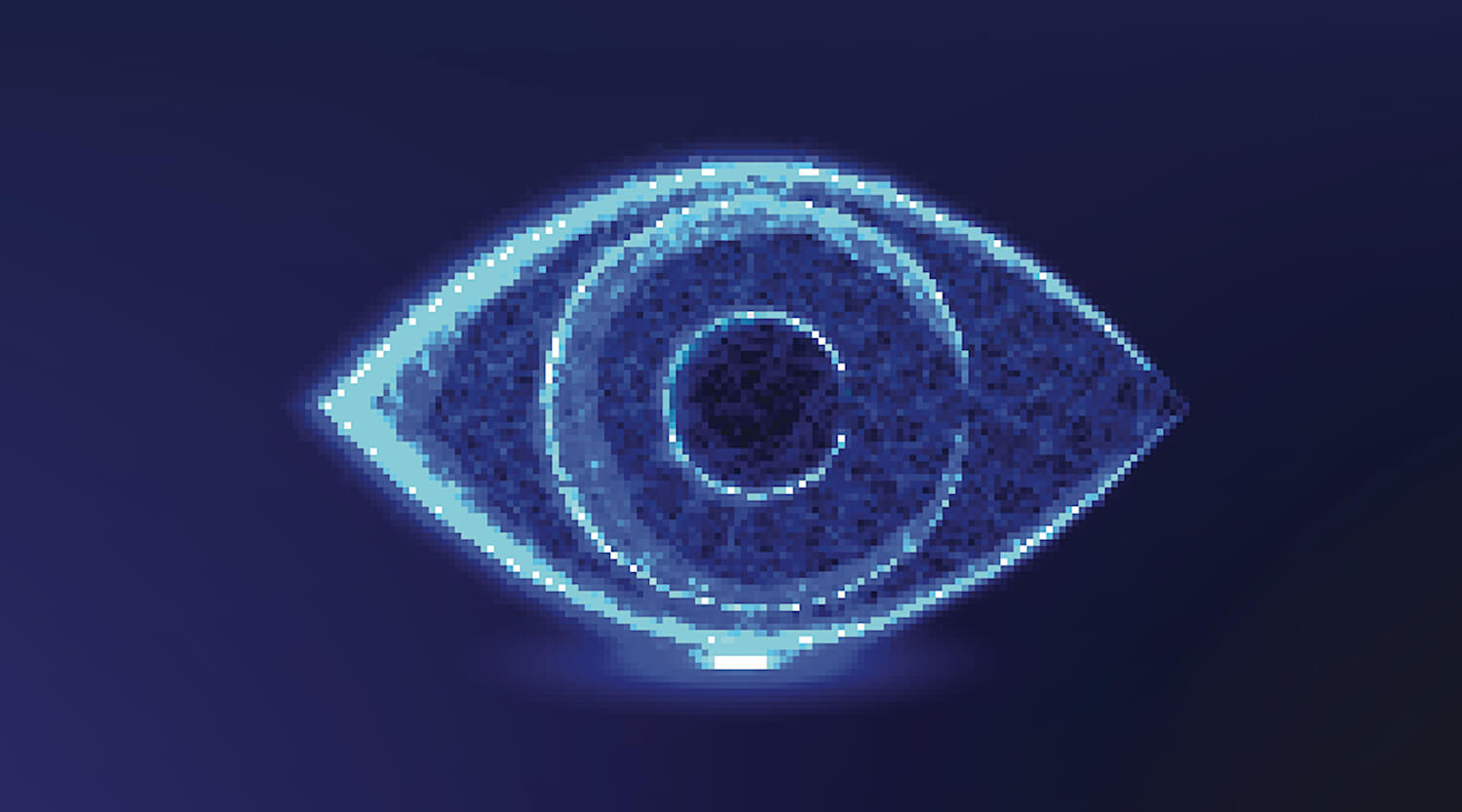 Image of an eye drawn on dark background.