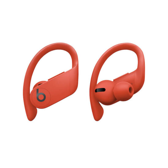 Image shows Powerbeats Pro wireless ear bud with secure ear hooks.