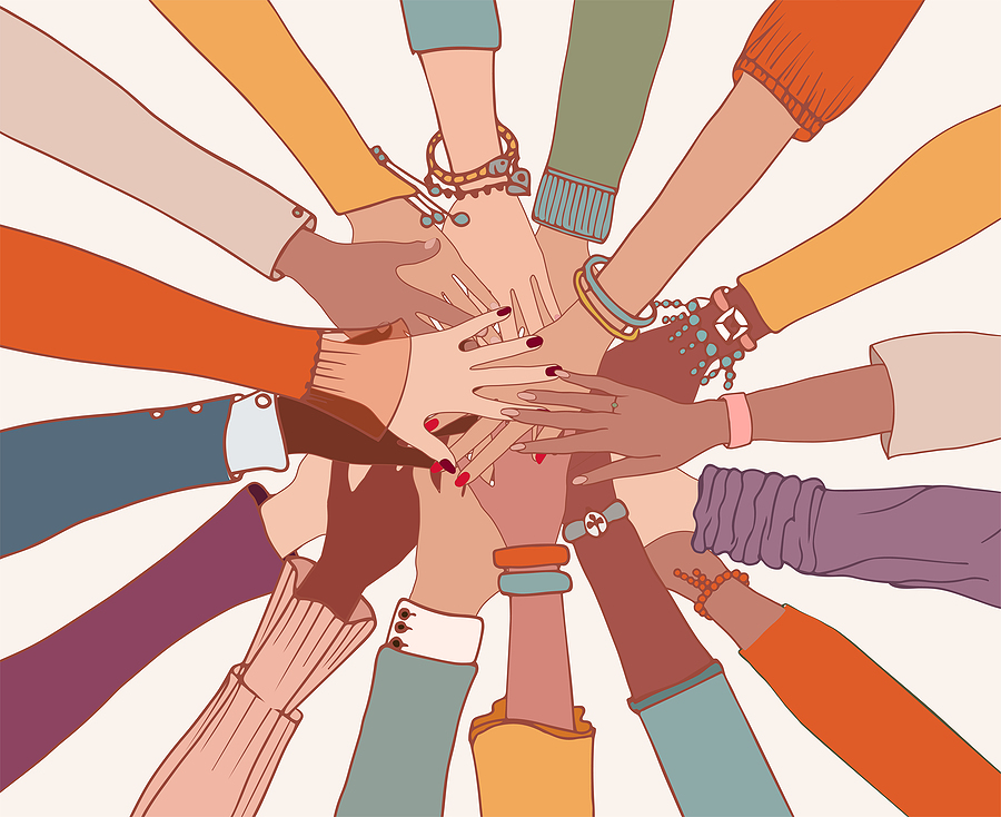 Graphic Image shows many hands coming together in helping gesture