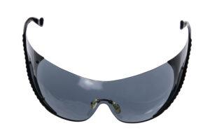 Image shows pairs of wraparound dark sunglasses