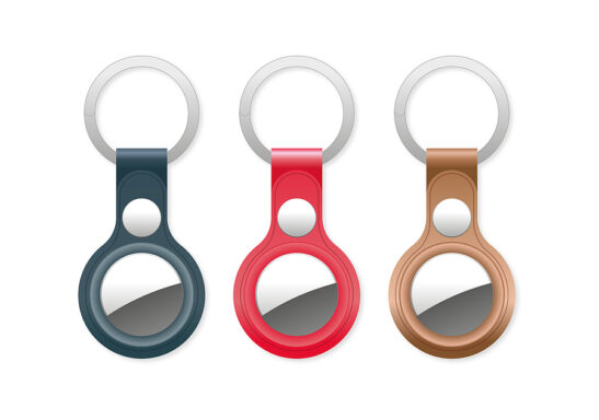 Image shows selection of AirTag case key rings in blue, red and tan colors.