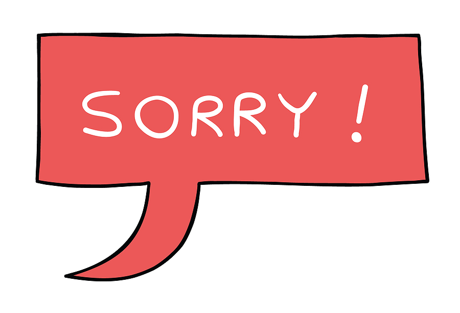 """Image shows speech bulbul with the word """"SORRY."""""""