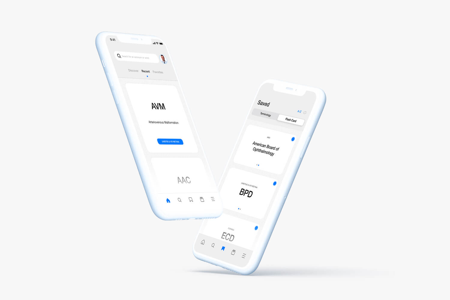 Mockup Image of OE Acronyms App on iPhone X.